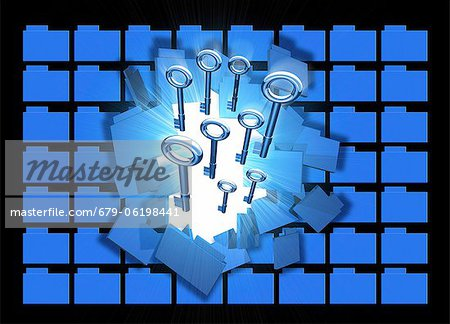 Computer hacking, conceptual computer artwork. Stock Photo - Premium Royalty-Free, Image code: 679-06198441