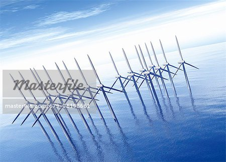 Offshore wind farm, computer artwork. Stock Photo - Premium Royalty-Free, Image code: 679-06198661