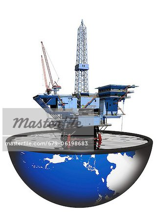 Oil rig, computer artwork. Stock Photo - Premium Royalty-Free, Image code: 679-06198683