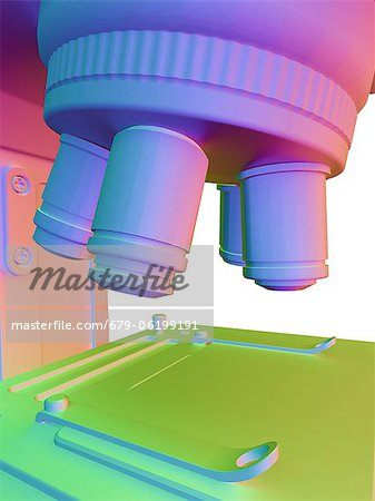 Microscope. Computer artwork of the lens unit of a microscope containing a selection of lenses that can be rotated for a choice of magnification. Under the lens unit is the specimen table. Stock Photo - Premium Royalty-Free, Image code: 679-06199191