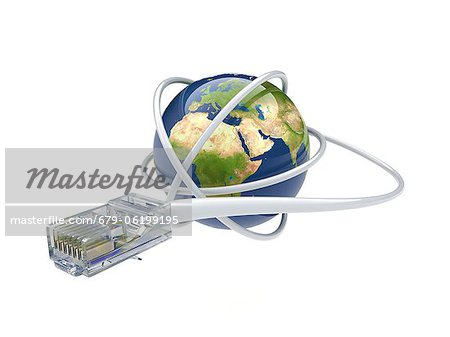 World wide web. Conceptual computer artwork showing a network cable around the earth. Stock Photo - Premium Royalty-Free, Image code: 679-06199195