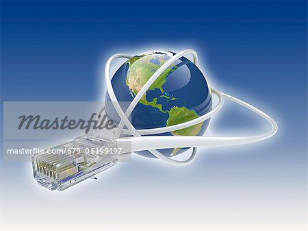 World wide web. Conceptual computer artwork showing a network cable around the earth. Stock Photo - Premium Royalty-Free, Image code: 679-06199197