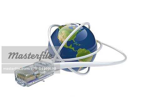 World wide web. Conceptual computer artwork showing a network cable around the earth. Stock Photo - Premium Royalty-Free, Image code: 679-06199198