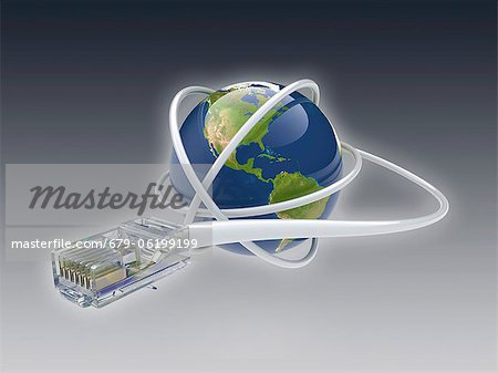 World wide web. Conceptual computer artwork showing a network cable around the earth. Stock Photo - Premium Royalty-Free, Image code: 679-06199199