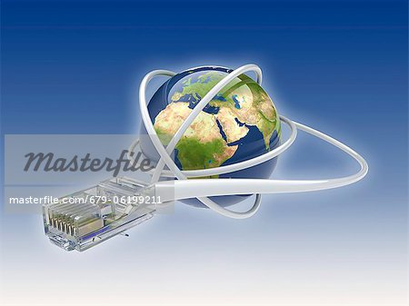 World wide web. Conceptual computer artwork showing a network cable around the earth. Stock Photo - Premium Royalty-Free, Image code: 679-06199211