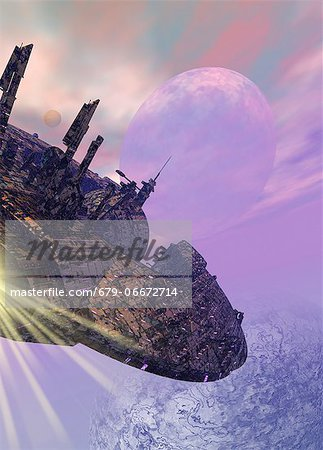 Spaceship in orbit around an alien planet, computer artwork. Stock Photo - Premium Royalty-Free, Image code: 679-06672714