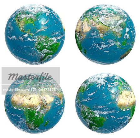 Four views of the Earth with cloud cover, computer artwork. Stock Photo - Premium Royalty-Free, Image code: 679-06672813