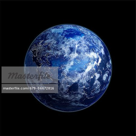 Eurasia at night. Computer artwork of the Earth from space with lights glowing in urban areas. Stock Photo - Premium Royalty-Free, Image code: 679-06672816