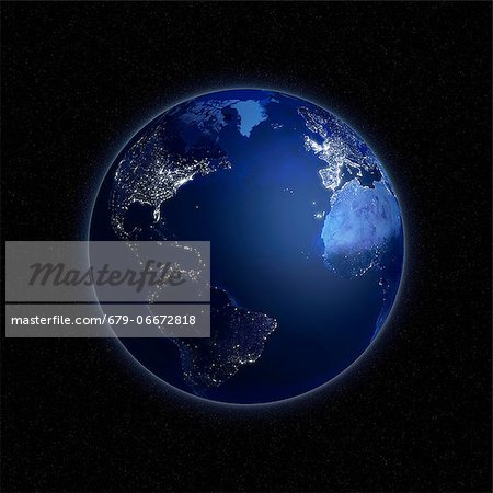 Earth at night. Computer artwork of the Earth from space with lights glowing in urban areas. Stock Photo - Premium Royalty-Free, Image code: 679-06672818
