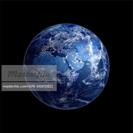 Earth at night. Computer artwork of the Earth from space with lights glowing in urban areas. Stock Photo - Premium Royalty-Free, Image code: 679-06672821