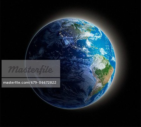 Americas. Night-day computer artwork of the Earth from space with lights glowing in urban areas. Stock Photo - Premium Royalty-Free, Image code: 679-06672822