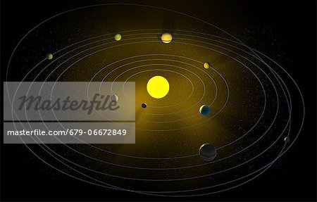 Solar system, computer artwork. Stock Photo - Premium Royalty-Free, Image code: 679-06672849