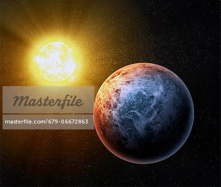 Alien planet, computer artwork. Stock Photo - Premium Royalty-Free, Image code: 679-06672863