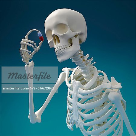 Skeleton with pill, computer artwork. Stock Photo - Premium Royalty-Free, Image code: 679-06672868