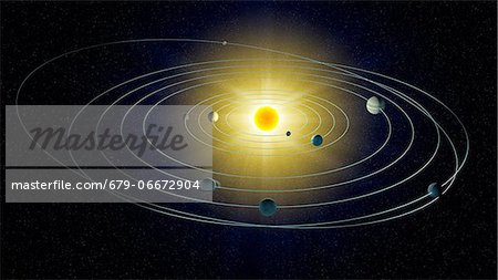 Solar system, computer artwork. Stock Photo - Premium Royalty-Free, Image code: 679-06672904