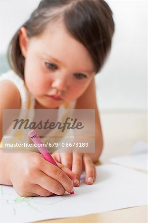Toddler drawing. Stock Photo - Premium Royalty-Free, Image code: 679-06673189