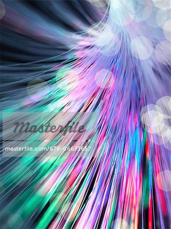 Optical fibres emitting light. Optical fibres are used in telecommunications to transmit data at high speed. Stock Photo - Premium Royalty-Free, Image code: 679-06673657