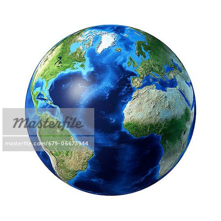 Atlantic Ocean, computer artwork. Stock Photo - Premium Royalty-Free, Image code: 679-06673944
