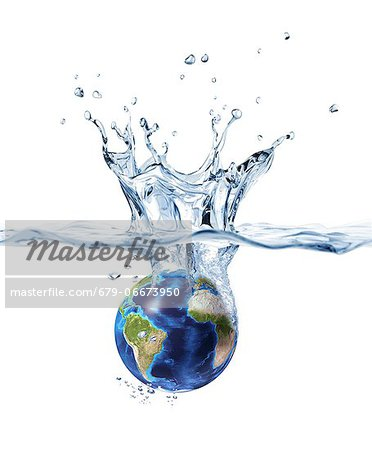 Drowning Earth, conceptual computer artwork. Stock Photo - Premium Royalty-Free, Image code: 679-06673950