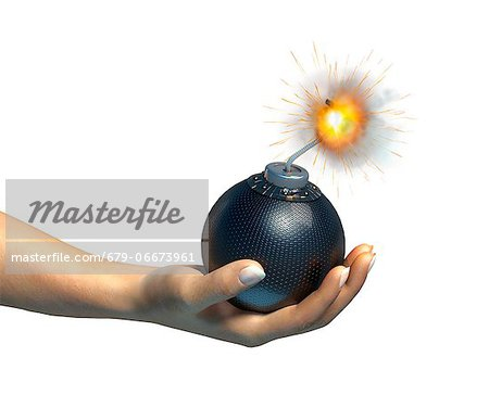 Hand holding a bomb, computer artwork. Stock Photo - Premium Royalty-Free, Image code: 679-06673961