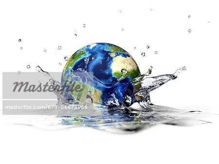 Earth falling into water, computer artwork. Stock Photo - Premium Royalty-Free, Image code: 679-06673966