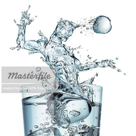 Sports hydration, conceptual computer artwork. Glass of water with a splash shaped as a football player heading the ball.