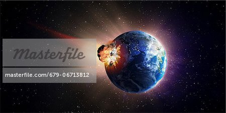 Asteroid impacting Earth, computer artwork. Stock Photo - Premium Royalty-Free, Image code: 679-06713812