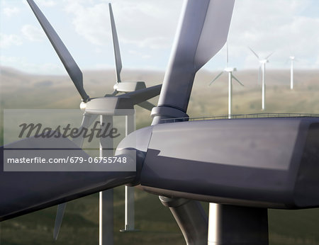 Wind farm, computer artwork. Stock Photo - Premium Royalty-Free, Image code: 679-06755748