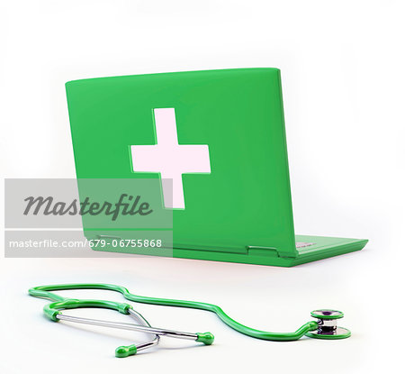 Online diagnosis, conceptual computer artwork. Stock Photo - Premium Royalty-Free, Image code: 679-06755868