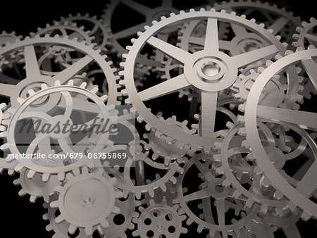 Cogs and gears, computer artwork. Stock Photo - Premium Royalty-Free, Image code: 679-06755869