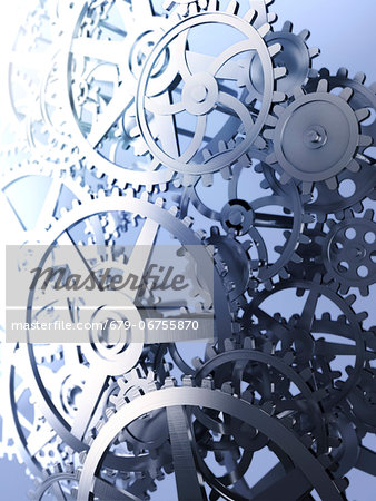 Cogs and gears, computer artwork. Stock Photo - Premium Royalty-Free, Image code: 679-06755870