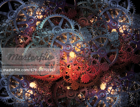 Cogs and gears, computer artwork. Stock Photo - Premium Royalty-Free, Image code: 679-06755917