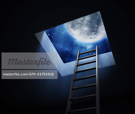 Ladder to the Moon, conceptual computer artwork. Stock Photo - Premium Royalty-Free, Image code: 679-06755918