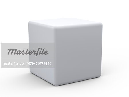 White cube, computer artwork. Stock Photo - Premium Royalty-Free, Image code: 679-06779450