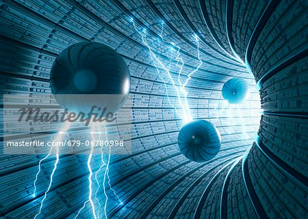 Futuristic tunnel, computer artwork. Stock Photo - Premium Royalty-Free, Image code: 679-06780998