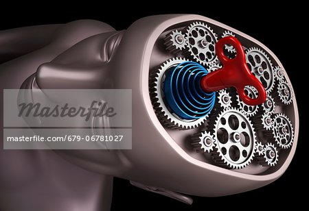 Clockwork brain, computer artwork. Stock Photo - Premium Royalty-Free, Image code: 679-06781027