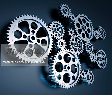 Cogs and gears, computer artwork. Stock Photo - Premium Royalty-Free, Image code: 679-06781055