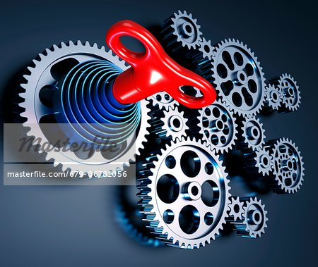 Clockwork machine, computer artwork. Stock Photo - Premium Royalty-Free, Image code: 679-06781056