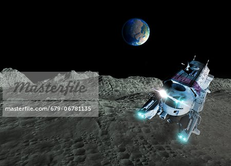 Lunar exploration, computer artwork. Stock Photo - Premium Royalty-Free, Image code: 679-06781135