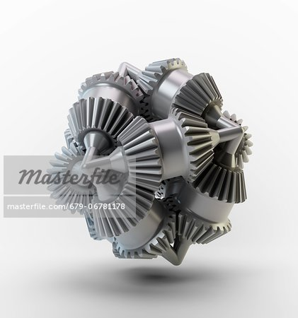 Gear wheels, computer artwork. Stock Photo - Premium Royalty-Free, Image code: 679-06781178