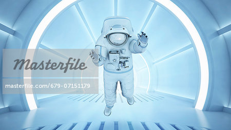 Astronaut in a tunnel, computer artwork. Stock Photo - Premium Royalty-Free, Image code: 679-07151179