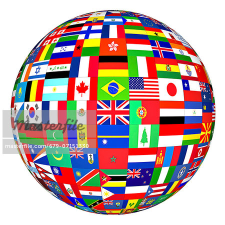 World flags, computer artwork. Stock Photo - Premium Royalty-Free, Image code: 679-07151330