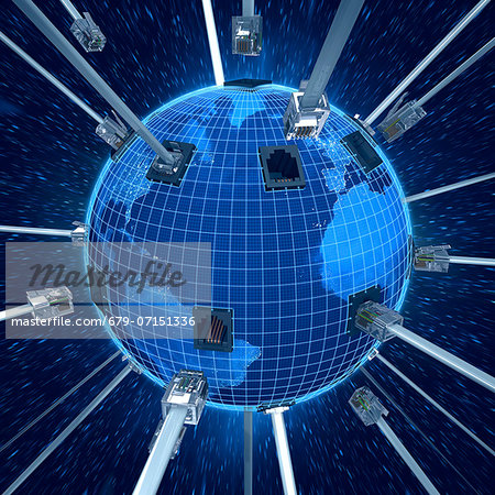 Global connectivity, computer artwork. Stock Photo - Premium Royalty-Free, Image code: 679-07151336