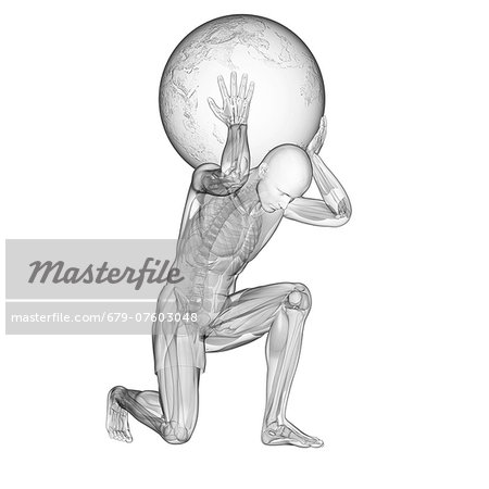 Atlas lifting globe, computer artwork. Stock Photo - Premium Royalty-Free, Image code: 679-07603048