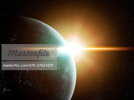 Earth and Sun, computer artwork. Stock Photo - Premium Royalty-Free, Image code: 679-07603179