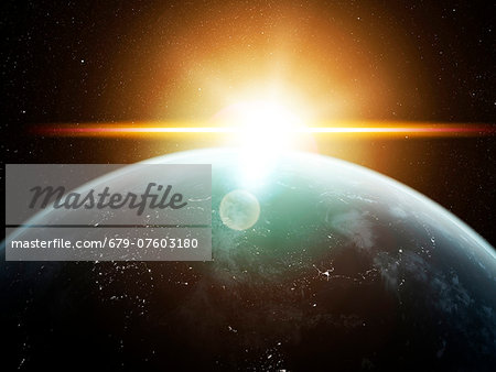 Earth and Sun, computer artwork. Stock Photo - Premium Royalty-Free, Image code: 679-07603180