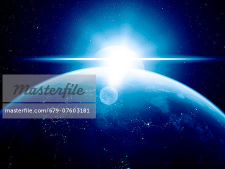 Earth and Sun, computer artwork. Stock Photo - Premium Royalty-Free, Image code: 679-07603181