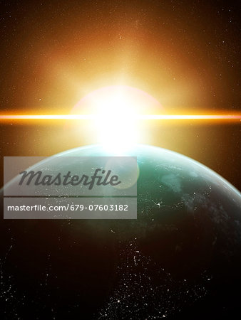 Earth and Sun, computer artwork. Stock Photo - Premium Royalty-Free, Image code: 679-07603182