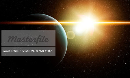 Earth and Sun, computer artwork. Stock Photo - Premium Royalty-Free, Image code: 679-07603187