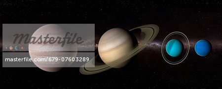 Solar system, computer artwork. Stock Photo - Premium Royalty-Free, Image code: 679-07603289